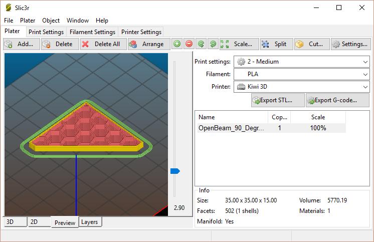 Meccanismo Complesso - Slic3r GUI
