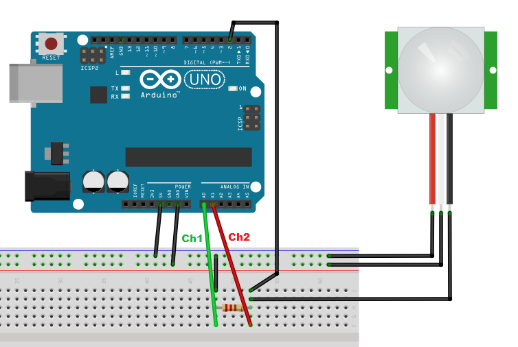 Meccanismo Complesso - PIR arduino sketch Fritzing 02