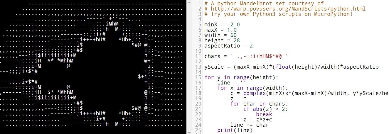 MicroPython - Mandelbrodt example