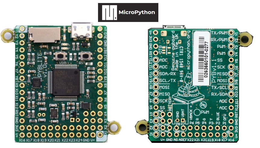 MicroPython - Pyboard front and rear