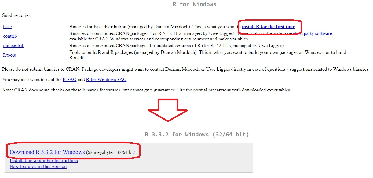 Download of R software from Windows