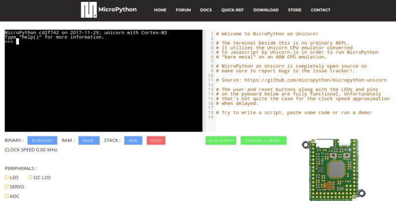 MicroPython web online