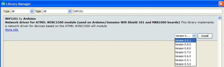 WiFi101 Arduino IDE library Manager and firmware version