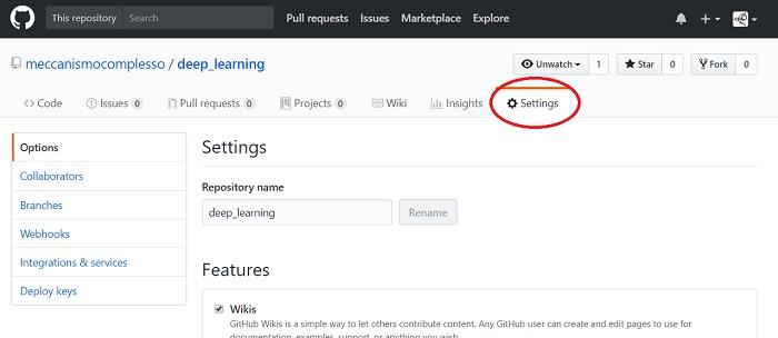 How to - come abilitare una web page su un repository di GitHub 02