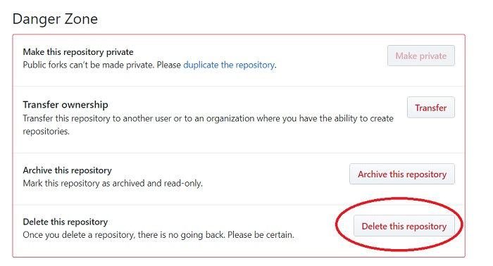 How to remove a repository on GitHub 03- delete the repository
