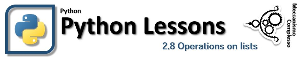 Python Lessons - 2.8 Operations on lists
