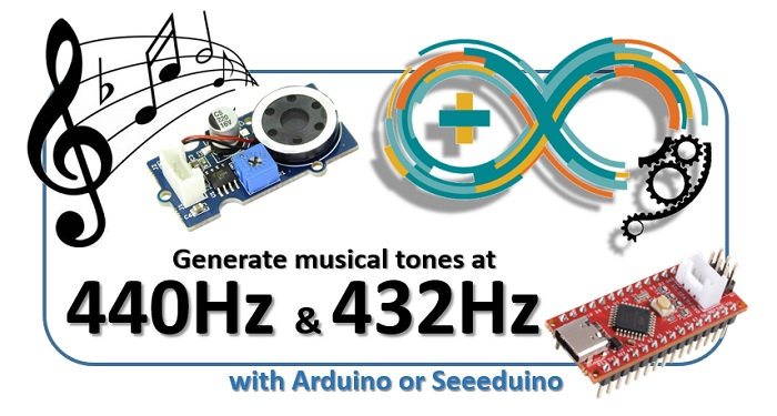 Generate musical tones at 440 Hz and 432 Hz with Arduino