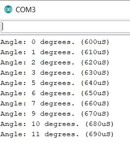 Arduino - PWM angle degrees example