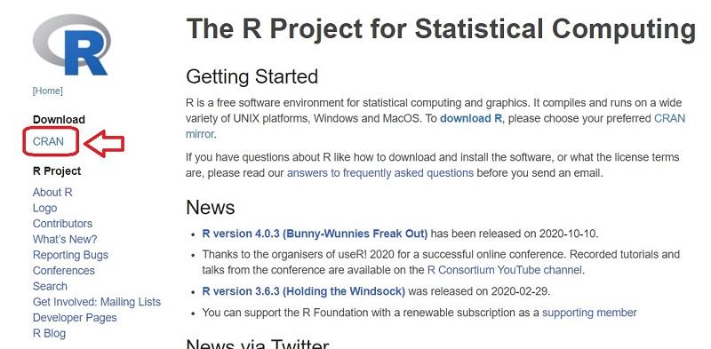 R - download di CRAN dal sito ufficiale
